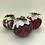 Thumbnail: Set of 3 Red Tartan Christmas pudding decorations