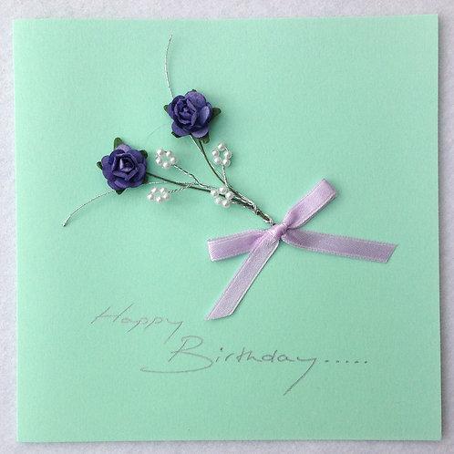 Birthday Card - Purple Rose Spray on Pale Green