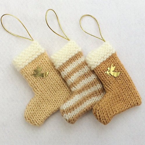 Hand-knitted Tree Stockings - Gold & Cream