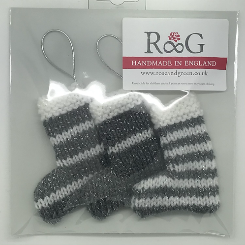 Hand-knitted Tree Stockings - Silver/Grey & White