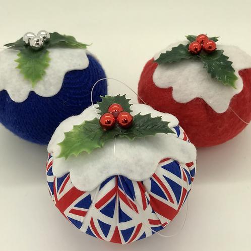 Set of 3 Union jack Christmas pudding decorations