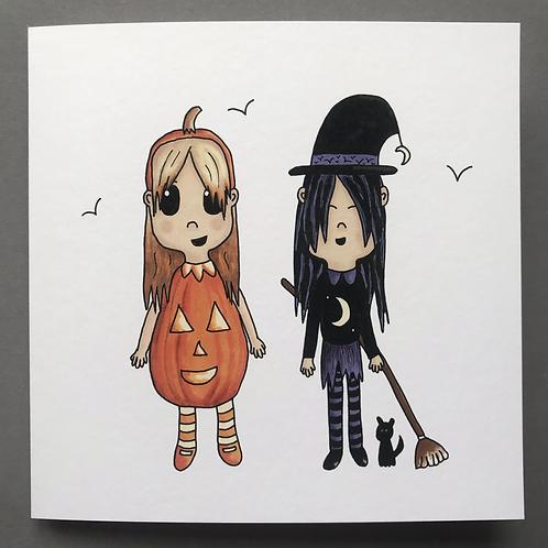 Witch & Pumpkin Card