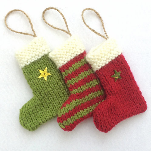 Hand-knitted Tree Stockings - Red & Olive Green