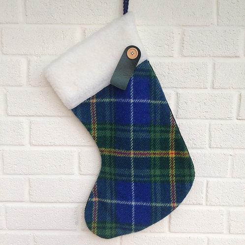Personalised Stockings - Blue/green tartan