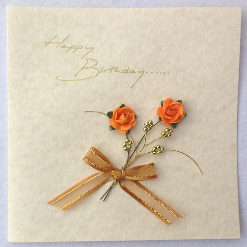 Birthday Card - Orange Rose Spray