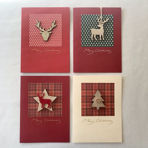 Handmade Christmas cards....Stags/tree