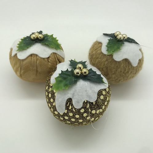 Set of 3 Bright Gold Christmas pudding decorations