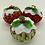 Thumbnail: Set of 3 Holly and xmas fabric Christmas pudding decorations