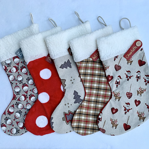 Linen & patterned Personalised stockings (small & large)