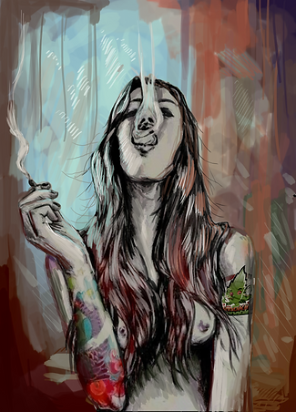 A girl smoking cannabis whilst doing the waterfall smoke trick