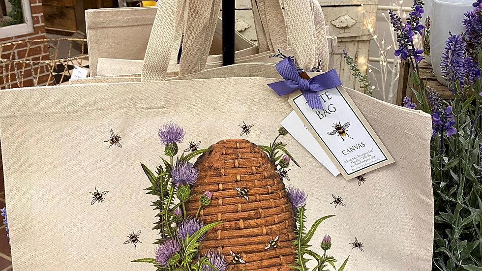 Garden House Vintage Market Bee Skep Large Canvas Tote Bag