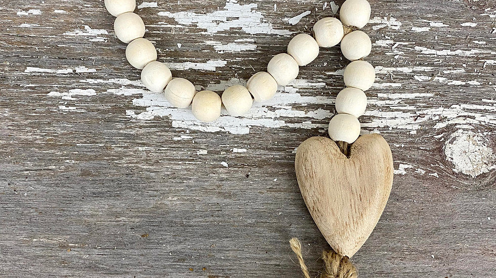 Beads with Wood Heart Pendant