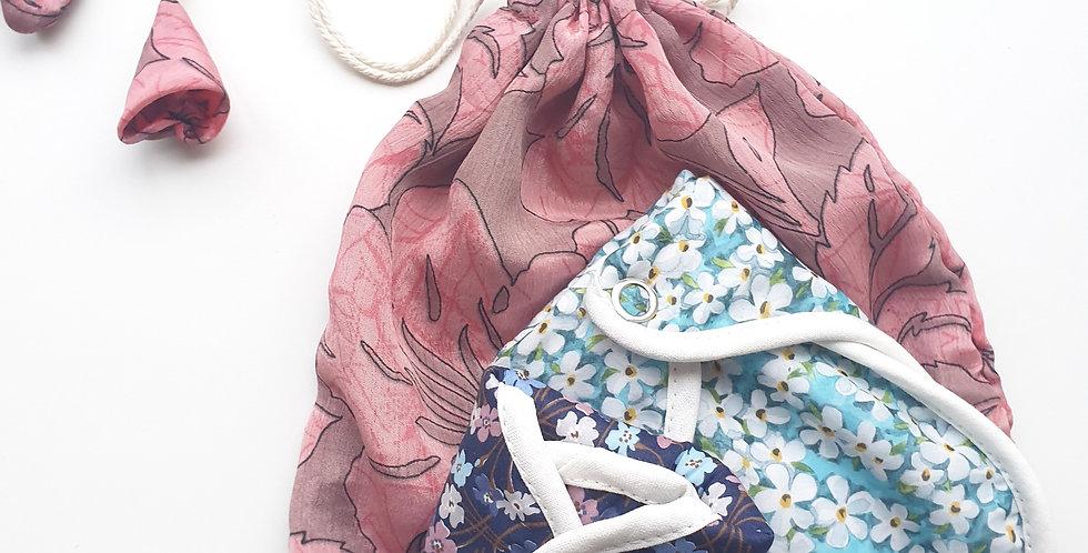 Sari Drawstring Bag. Recycled.