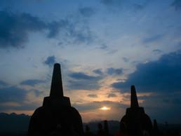 Sunset at Borobudur Temple