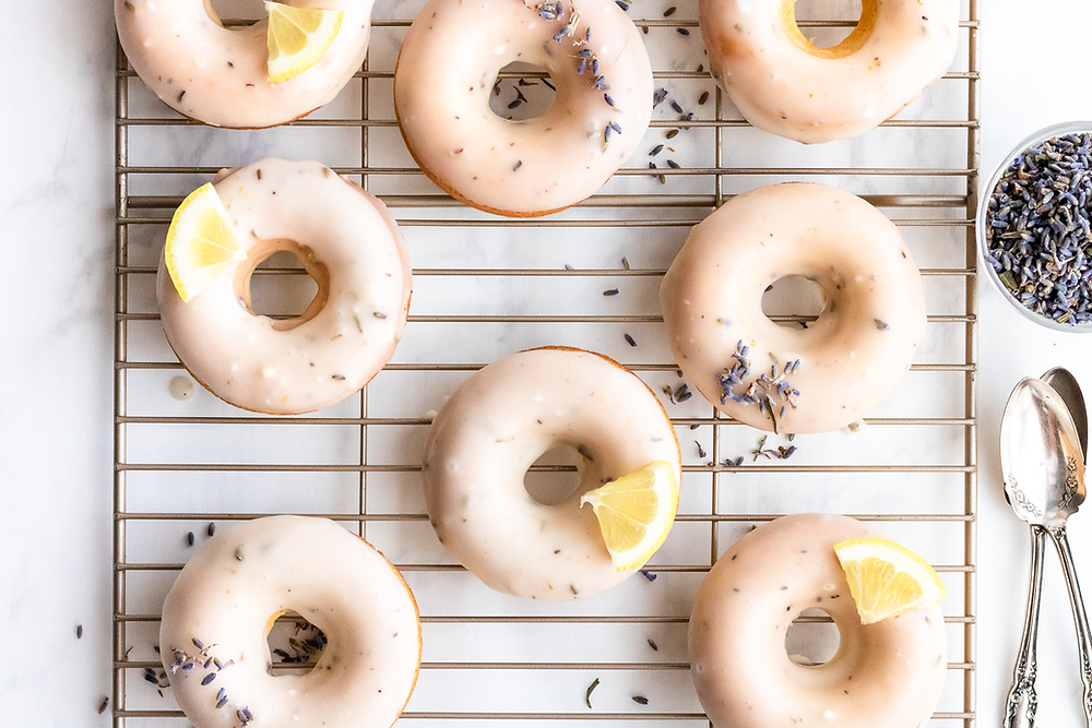 GF Lavender Lemon Glazed Donuts