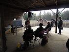 Seminar in the horse run-in at Spirit's Whisper Ranch