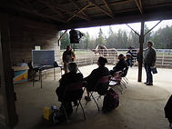 Seminar in the horse run-in at Spirit's Whisper Ranch