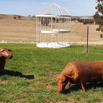 Gas tank sheep sculptures