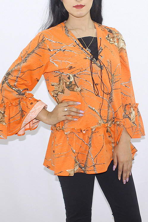 FW20WT17-33 PRINTED FRILL TOP