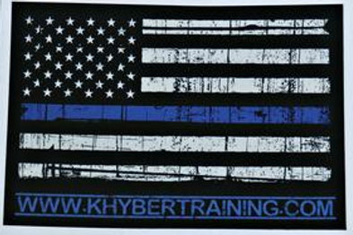 "Khyber Thin blue line US Flag decal (5""x7""), show your support for our Nations f"