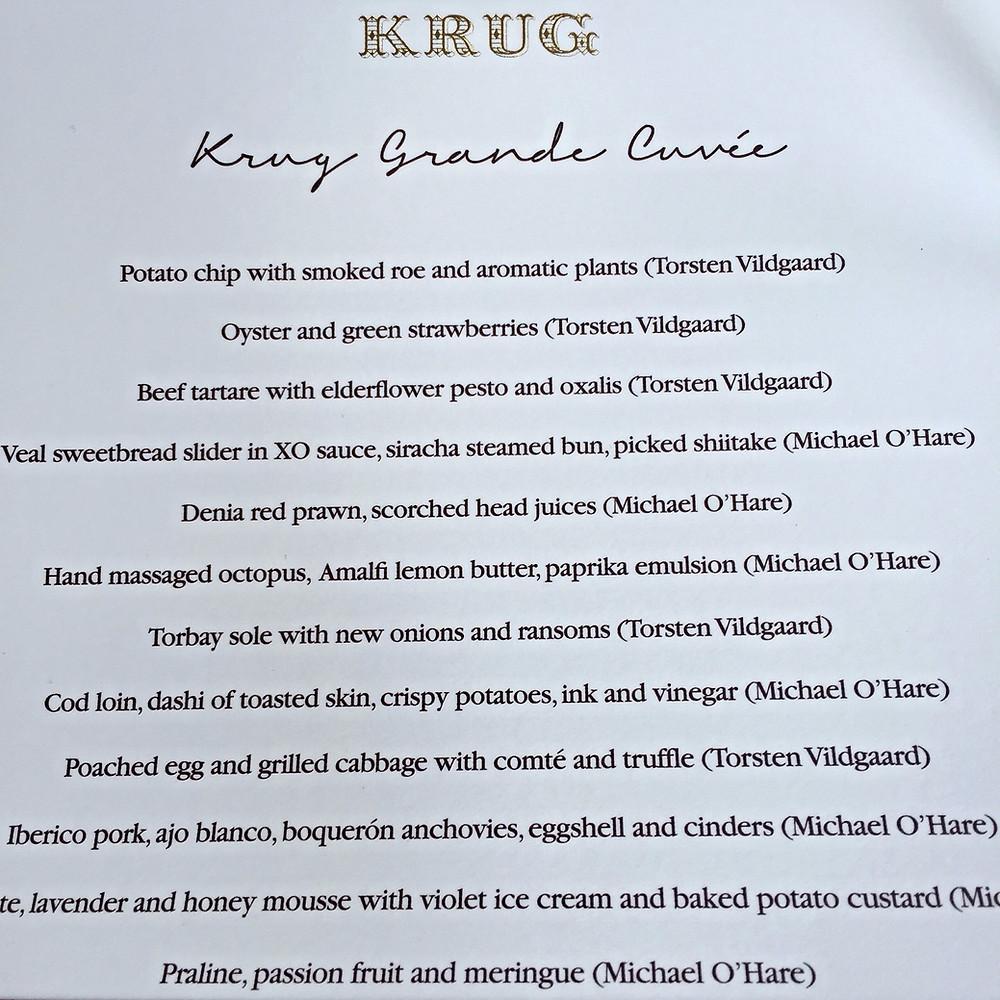 Krug x Egg lunch menu