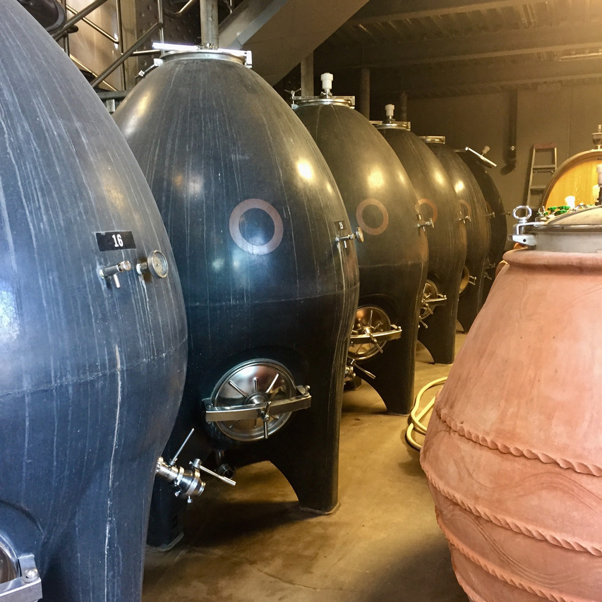 Concrete eggs and chimneys and amphorae at Haywire, Okanagan