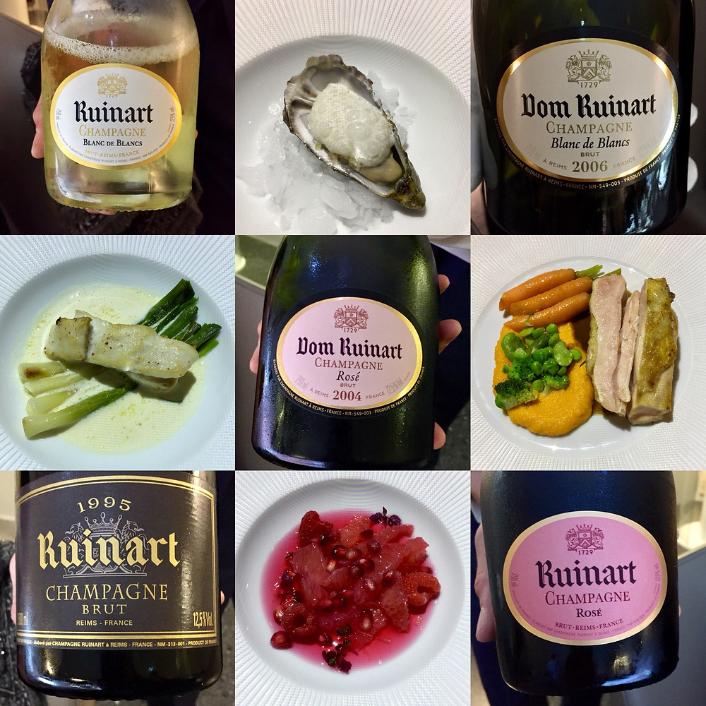 Lunch Champagnes and dishes at Ruinart