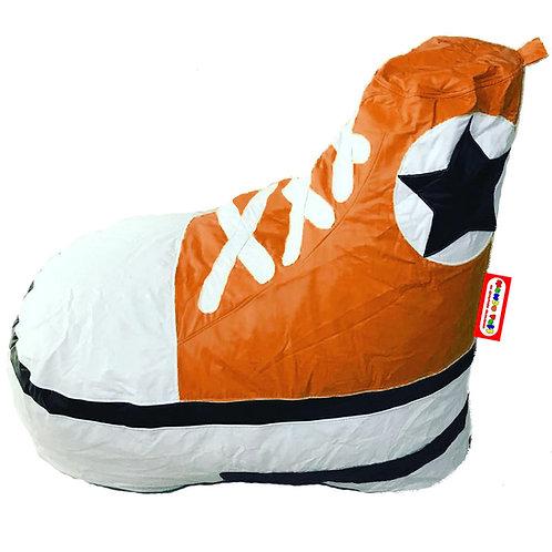 Sillon Puff Tenis tipo Converse Naranja. Ideal Para Personas De Hasta 90 kg