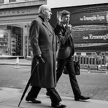 Men walking on New Bond Street Mayfair London