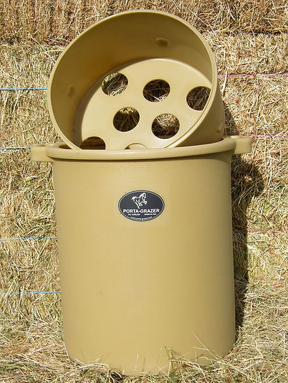 The Porta-Grazer, distributed in Australia by Booralite Park at Pakenham South, copies natural slow grazing for stables or paddocked horses