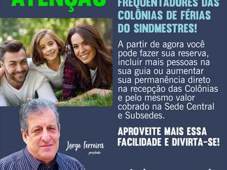 Sócios e  Frequentadores das  Colônias de Férias  do Sindmestres!