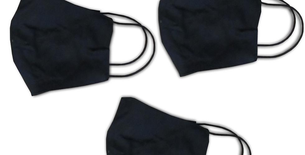 Kit 3 máscaras lisa pretas - código 01