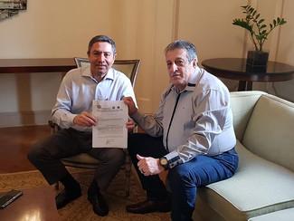 Protocolada a Pauta no Sinditextil 2019 2020 . Pacheco presidente do Sinditextil e Jorge presidente