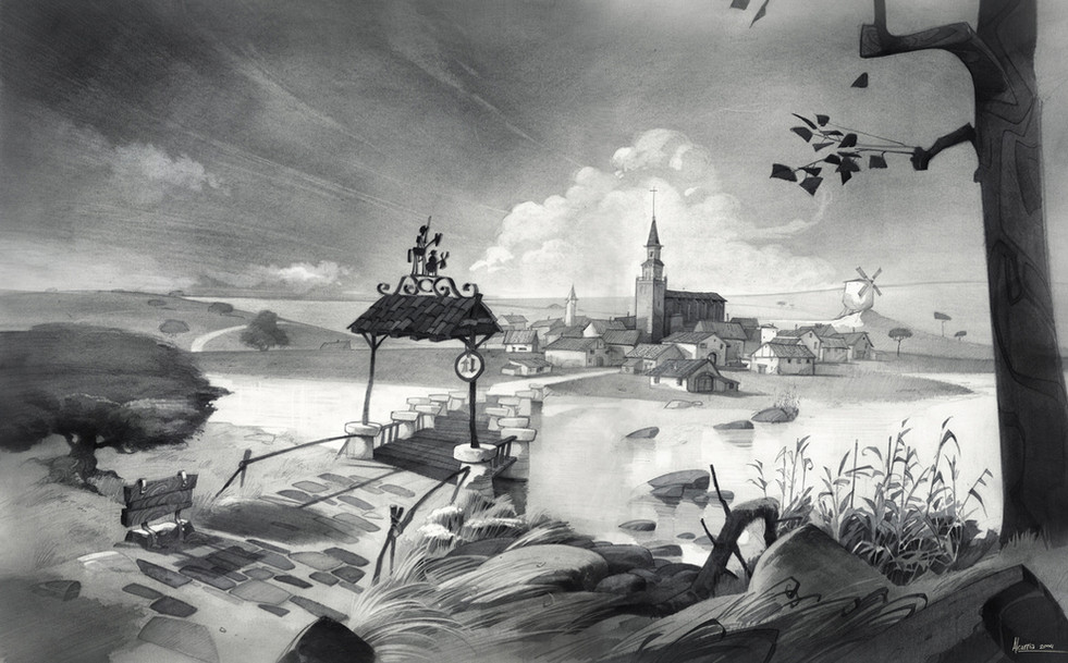 """Background Design for the animated feature film """"Donkey Xote"""""""