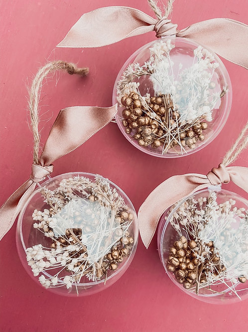 Dried Flower Baubles - Pink & Gold