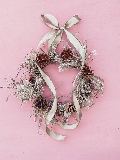 Wild Statice Wreath - Taupe Ribbon
