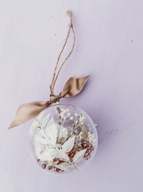 Dried Flower Baubles  - Taupe & Copper