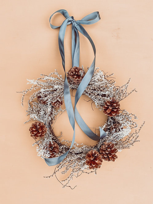 Wild Statice Wreath - Grey Ribbon