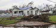 Hurricane Laura Destroyed House with Tar