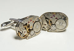 watch movement cuff links, unique and bespoke designs, steampunk