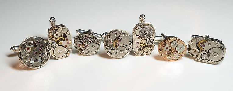 chee designs watch movement cuff links, unique and bespoke designs