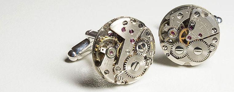 watch movement cuff links unique and bespoke designs, steampunk