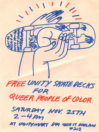 Jeffrey Cheung, Free Unity Skate Decks for Queer People of Color, risograph, 2018.
