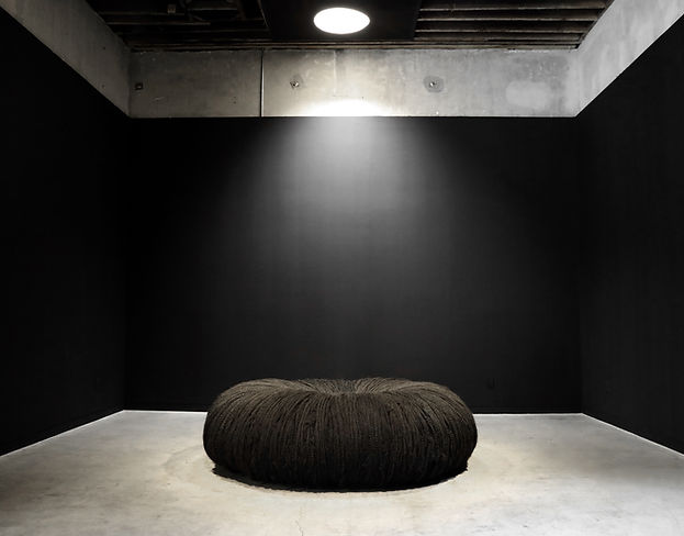 Black Hole, installation view, 2017. Synthetic and human hair, artist's hair, black velvet, foam,  pigment, salt, ground mirror, wood base