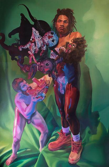 Kezia Harrell. Black Daddy/WhiteDaddy [detail],Oil on panel. 5' x 8'. 2016