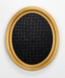 """Mourning Weave,2014. woven velcro, velvet fuzz, frame. 24""""H x 20""""W"""
