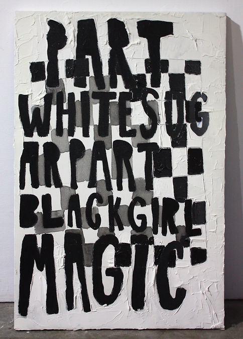 "Part White Sugar, Part Black Girl Magic, Acrylic, caulking, on canvas, 36""x24"". 2016. Photo courtesy of the artist"