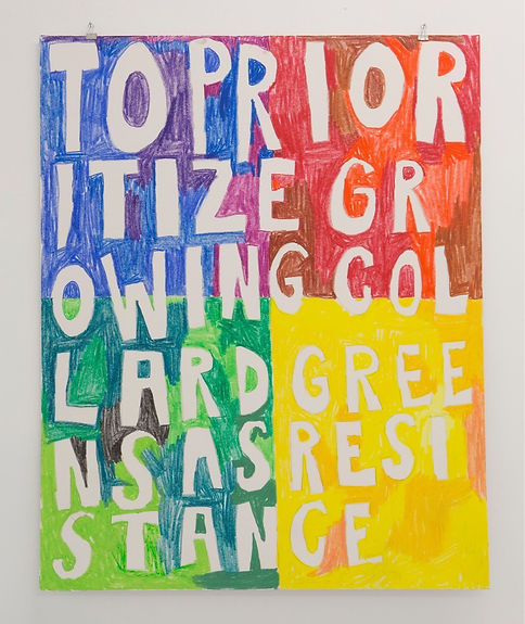 "Growing Resistance, Oil pastel on Illustration Board, 30""x40"". 2017. Photo by Deli Gallery"