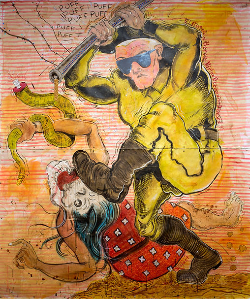 Bay a Migra as Heroic Virtue overcoming Discord, mixed media, 2014
