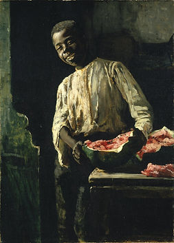 """Thomas Hovenden,I Know'd It Was Ripe, oil on canvas,21.9"""" × 15.8"""". circa 1885"""